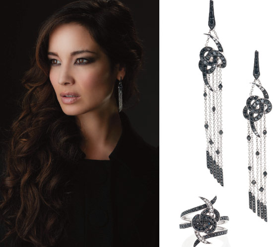 diamond pendant earrings and ring from Skyfall
