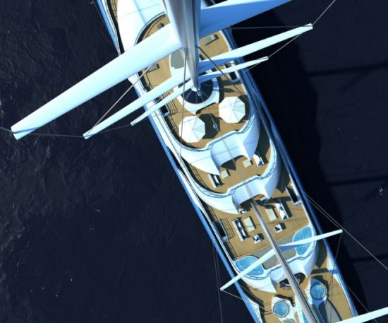 H2 Yacht Design's Project Atlas is a revolutionary motor superyacht that utilizes the efficiency of sail power