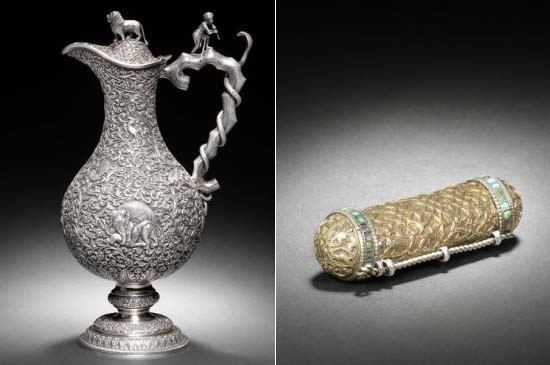 Ancient Indian Silver Jug and an illuminated Qur'an in a silver-gilt case for sale