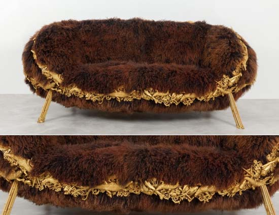 Fernando and Humberto Campana's Mongolian Lamb Anhanguera sofa sells for $193,000