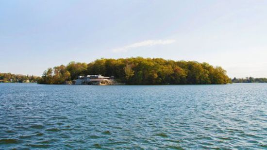 Private island with Frank Lloyd Wright-designed residence