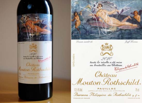 Jeff Koons designs wine label for Château Mouton Rothschild 2010 Pauillac