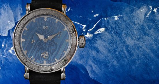 GoS Nordic Seasons winter edition watch is crafted from damascus steel and inspired from ice