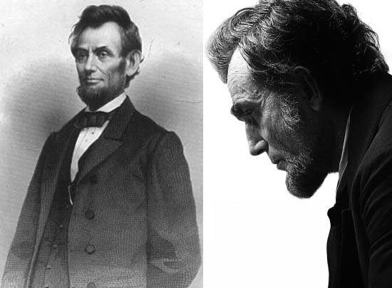 Daniel Day-Lewis portraying revered 16th American President Abraham Lincoln in Spielberg's Lincoln