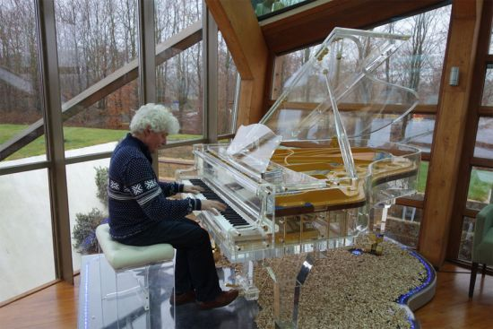 Handcrafted transparent Crystal Grand Pianos