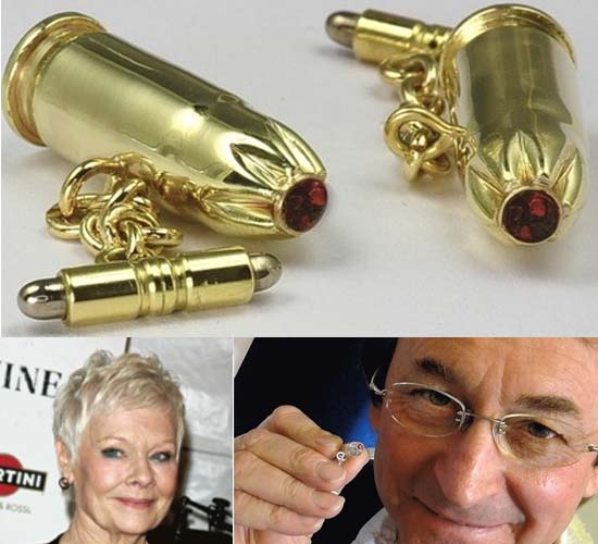 Dame Judi Dench has Skyfall bullets made into cufflinks by Nutfield jeweller