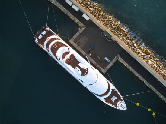 Aerial image of a boat taken with LP960 for further design of an advertising brochure.