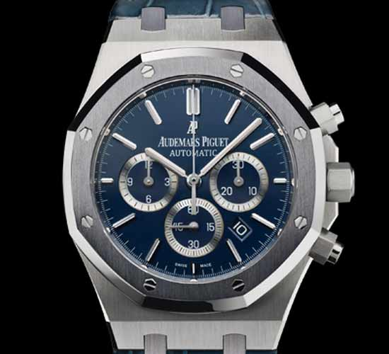 Lionel Messi with Audemars Piguet No.10 Royal Oak Chronograph watch in steel