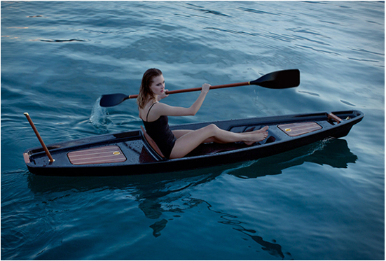 McLellan Jacobs carbon fiber kayak in the waters