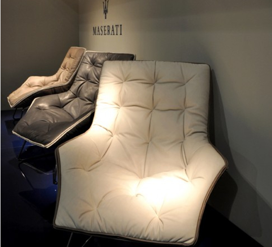 The Maserati Zanotta lounge chair on display at the Zanotta store in Milan