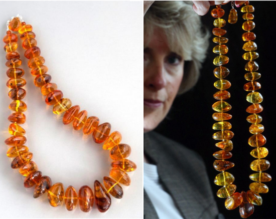Amber necklace with fossilized insects known to be 40 million years old