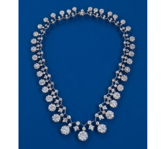 Victorian diamond necklace with rose and brilliant cut diamonds