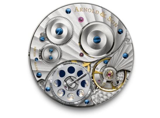 Arnold & Son HM Perpetual Moon watch features the company made A&S 1512 movement
