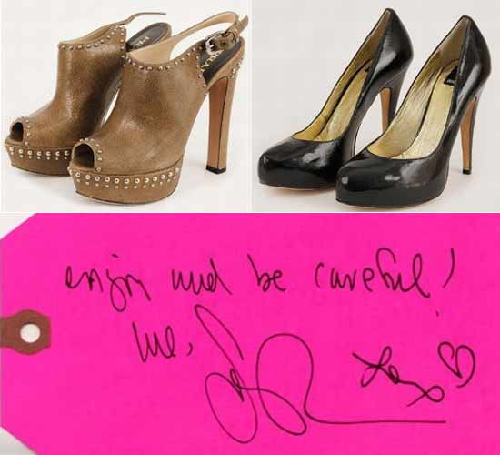 Sarah Jessica Parker's Prada peep-toe heels, black heels by Dolce Vita, and the handwritten note