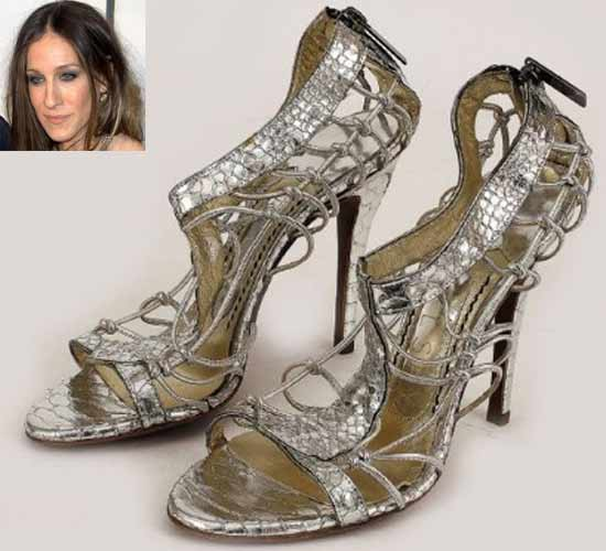 Sarah Jessica Parker's silver snake skin heels by Jonathan Kelsey
