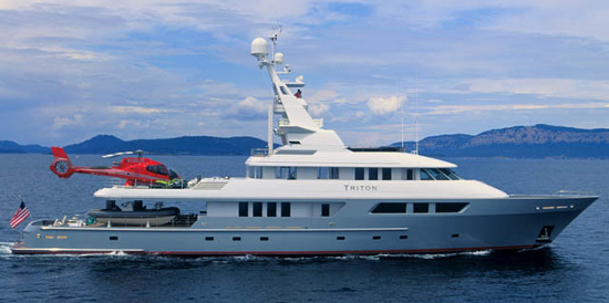 The Triton megayacht features a modern design which includes carbon fiber paneling for the hull