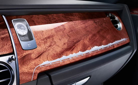 Rolls-Royce Ghost Alpine edition features the usual polished paneling on the dashboard
