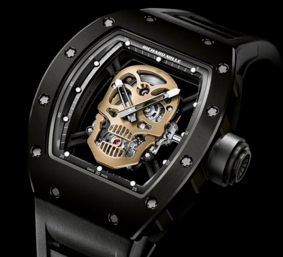 Richard Mille RM 52-01 Skull watch, featuring a handcrafted red gold skull at it's centre