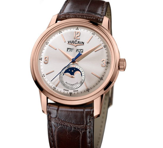 Vulcain 50s President Moonphase watch brings in the old world styling charm in 18K rose gold