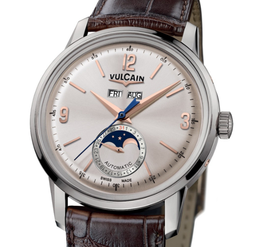 Vulcain 50s President Moonphase watch can also be availed in stainless steel casing and dial