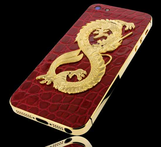 Golden Dreams Dragon etched in gold on red alligator leather