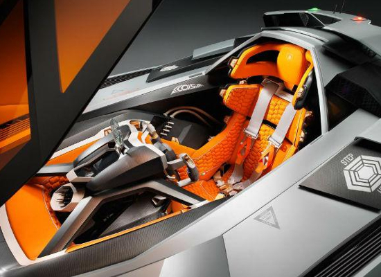 The driver's cockpit in the Lamborghini Egoista has been several detachable parts