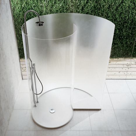 Snail-like space-saving shower by Benedini Associates