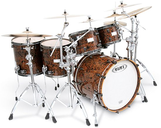 orion chocolate burl drum set