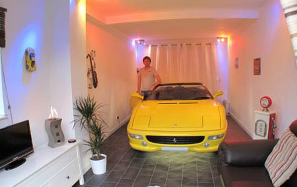 jon ryder puts ferrari inside his room
